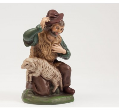 Hirte kniend mit Schaf, 12cm