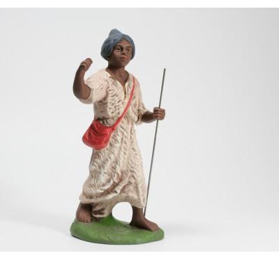 Kamel-Treiber, dunkelbraun, blauer Turban, 14cm