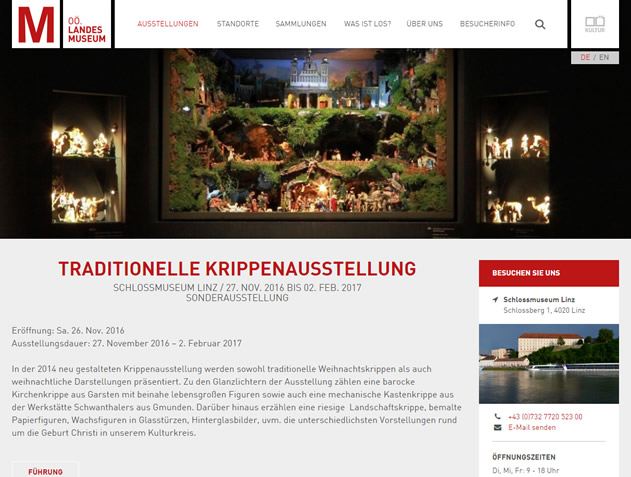 Krippen-Ausstellung, Oberösterreichisches Landesmuseum, Schlossmuseum Linz