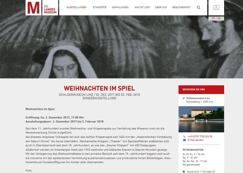 Weihnachten im Spiel - Oberoesterreichisches Landesmuseum