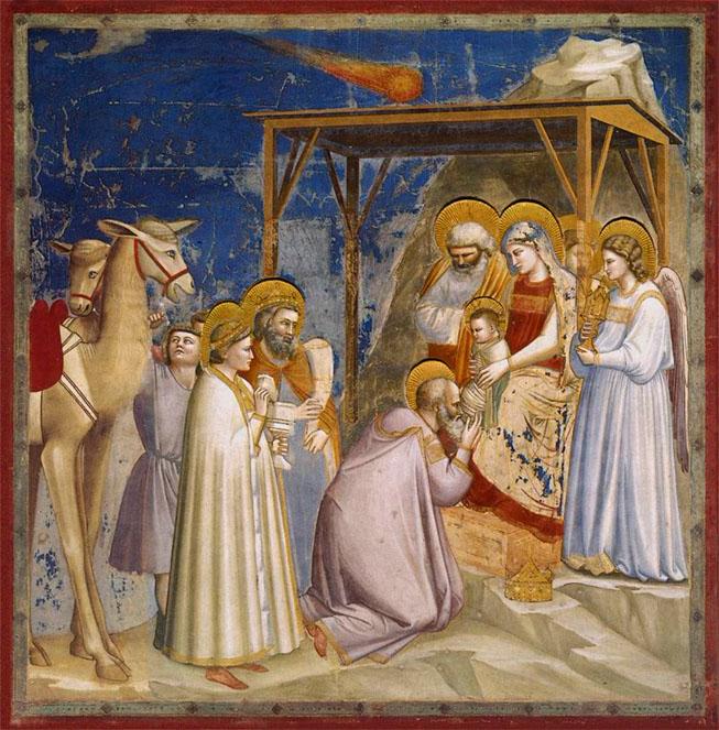 Giotto: Die Anbetung des Kindes durch die drei Weisen aus dem Morgenlande. Krippenfiguren-Online-Shop. Der Komet. Stern von Betlehem.